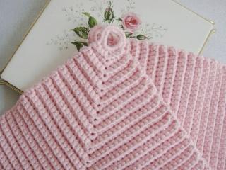 Topflappen, rosa, klassisch, gehäkelt, 100% Baumwolle