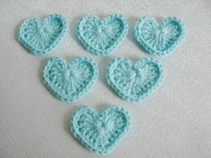 Häkel-Herzen, 100% Baumwolle, in mint, pastell, 6 Stück