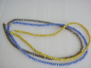 Halskette aus Glasschliffperlen, mittelblau, ca. 51 cm