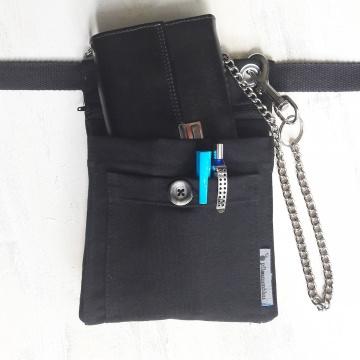 Bauchtasche ARBEIT (in schwarz) - für Kellner / mit viel Platz für Werkzeug
