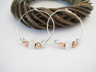 Silber-Creolen mit Perlen in Silber und Rose