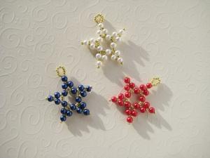 Baumschmuck Sterne 1, 3 Stück, Perlensterne, Perlenschmuck