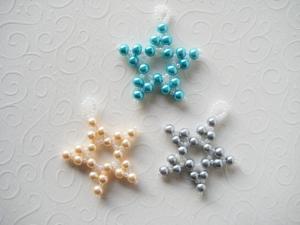 Baumschmuck Sterne 2, 3 Stück, Perlensterne, Perlenschmuck