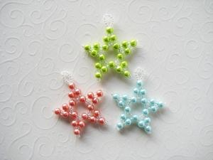 Baumschmuck Sterne 3, 3 Stück, Perlensterne, Perlenschmuck
