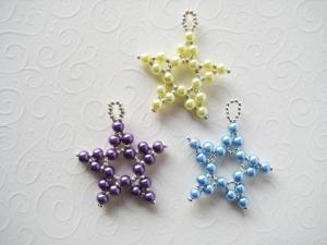 Baumschmuck Sterne 4, 3 Stück, Perlensterne, Perlenschmuck