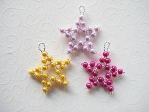 Baumschmuck Sterne 5, 3 Stück, Perlensterne, Perlenschmuck