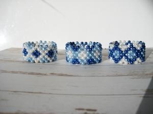 Teelichtringe in Blautönen, Kerzenhalter, Teelichthalter, Tischschmuck