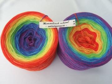 3-fädig gefachtes Farbverlaufsgarn Wolke 7 leuchtender Regenbogen 900m Lauflänge