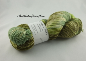 Handgefärbte Merino Twist Olive/Heather/Spring/Sage von Cowgirl Blues