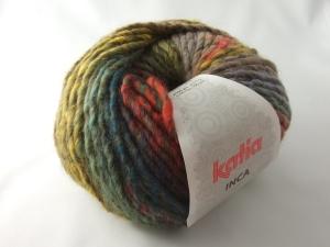 schöne Multicolorwolle von Katia Inca Farbe 101 in herbstlich bunt