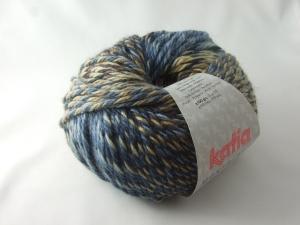 schöne Multicolorwolle von Katia Montblanc Farbe 76 in jeansblau und braun - Handarbeit kaufen