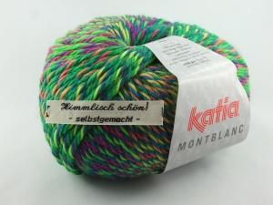 schöne Multicolorwolle von Katia Montblanc Farbe 71 in neon grün