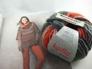 schöne Multicolorwolle von Katia Art Wool Farbe 67 in braun, rost, grau und grün