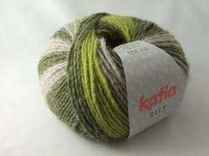 schöne Multicolorwolle von Katia City Farbe 902 in hellgrün, beige und oliv - Handarbeit kaufen