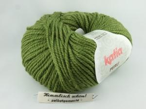kuschelige einfarbige Wolle mit Alpaka von Katia Peru Farbe 15 in moosgrün - Handarbeit kaufen