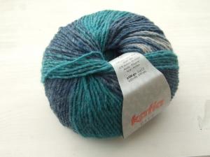 schöne Multicolorwolle von Katia City Farbe 903 in türkis, blau und grau