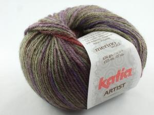 schöne weiche Verlaufswolle von Katia Artist Farbe 302 in herbstlich braun, lila und ocker - Handarbeit kaufen