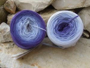 3-fädig gefachtes Farbverlaufsgarn (Bobbel) Wolke 7 Purple 760m Lauflänge