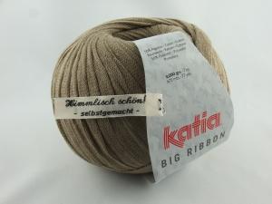 flaches einfarbiges Bändchengarn von Katia Big Ribbon Farbe 8 in türkis steinbraun