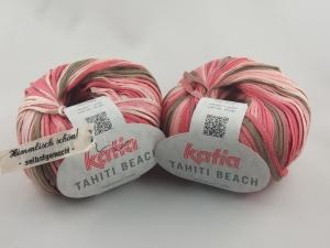 sommerliches Bändchengarn Tahiti Beach von Katia in Farbe 304: rosa und braun