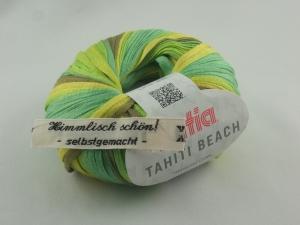 sommerliches Bändchengarn Tahiti Beach von Katia in Farbe 306: grün und gelb