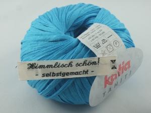 sommerliches Bändchengarn Tahiti von Katia in Farbe 22: hellblau - Handarbeit kaufen