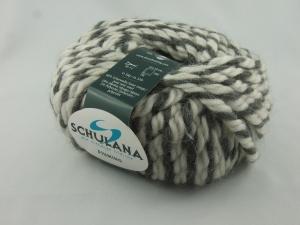 schöne, dicke Wolle mit Alpakaanteil von Schulana Piumino Farbe 013 in hellgrau-anthrazit meliert