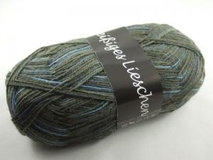 schöne 4-fach Sockenwolle Fleißiges Lieschen in braun und blau, Farbe Nr. 06
