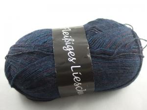 schöne 4-fach Sockenwolle Fleißiges Lieschen in dunkelblau mit weinrot, Farbe Nr. 07 - Handarbeit kaufen