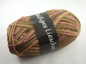 schöne 4-fach Sockenwolle Fleißiges Lieschen in braun mit rosé, Farbe Nr. 08