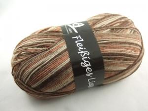 schöne 4-fach Sockenwolle Fleißiges Lieschen in braun mit beige, Farbe Nr. 127