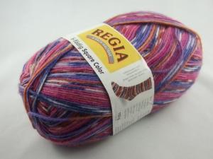 schöne 6-fach Sockenwolle Square Color von Regia in pink, lila und blau, Farbe Nr. 1136 - Handarbeit kaufen