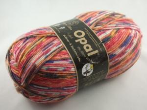 schöne 6-fach Sockenwolle von Opal Die Sinne verstricken Herzogin Eugenie in orange und rot, Farbe Nr. 4021 - Handarbeit kaufen