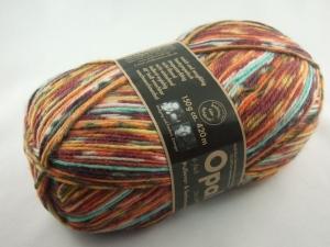 schöne 6-fach Sockenwolle von Opal Die Sinne verstricken Fürst Kunterbunt in herbstlichen Tönen, Farbe Nr. 4027