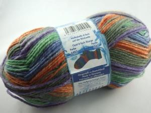 schöne, dicke 8-fach Sockenwolle von Opal X-Large in lila, grün und orange, Farbe Nr. 6483 - Handarbeit kaufen