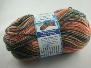schöne, dicke 8-fach Sockenwolle von Opal X-Large in braun und orange, Farbe Nr. 6484
