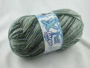 schöne, dicke 8-fach Sockenwolle von Opal X-Large in schwarz und grau, Farbe Nr. 6485