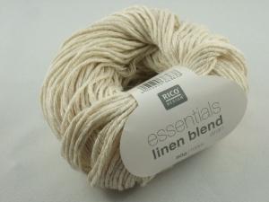 Essentials linen blend aran von Rico Design, ein sommerliches Baumwollgarn in Aranstärke mit Leinen- und Viskoseanteil in Farbe 001: wollweiß