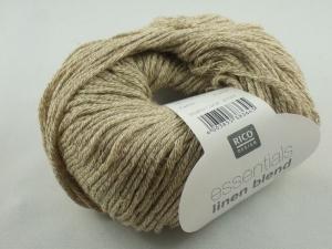 Essentials linen blend aran von Rico Design, ein sommerliches Baumwollgarn in Aranstärke mit Leinen- und Viskoseanteil in Farbe 002: steinbraun - Handarbeit kaufen