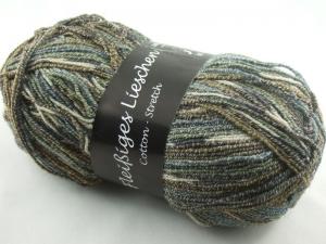 schöne 4-fach Sockenwolle Cotton Stretch Fleißiges Lieschen in olivgrün, Farbe Nr. 27 - Handarbeit kaufen