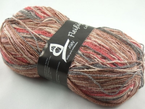 schöne 4-fach Sockenwolle Cotton Stretch Fleißiges Lieschen in rot und beige, Farbe Nr. 21 - Handarbeit kaufen