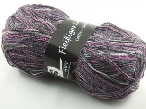 schöne 4-fach Sockenwolle Cotton Stretch Fleißiges Lieschen in anthrazit und weinrot, Farbe Nr. 26 - Handarbeit kaufen