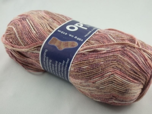 schöne 4-fach Sockenwolle Cotton Premium von Opal in rosé, Farbe Nr. 5615 - Handarbeit kaufen