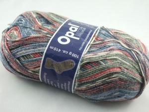 schöne 4-fach Sockenwolle Cotton Premium von Opal in blau, grau und rot, Farbe Nr. 5613 - Handarbeit kaufen