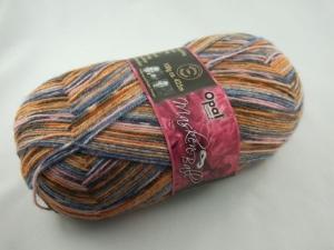schöne 4-fach Sockenwolle von Opal Maskenball in braun, blau und rosa, Farbe Nr. 3000