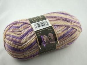 schöne 4-fach Sockenwolle von Opal Sinne verstricken in beige mit flieder, Farbe Nr. 2677 - Handarbeit kaufen
