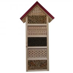 Wildbienen und Insektenhotel Ruhpolding mit rotem Dach, Nistziegel, Nistbrettchen und Bruthülsen (ca. 400 Nistplätze)
