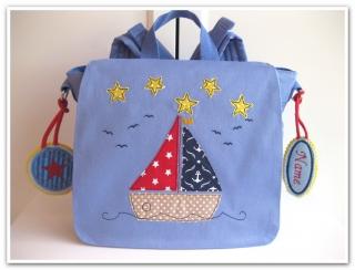 Kindergartenrucksack  Schiff  ... mit deinem Wunschname ---> SOFORT ZU HABEN