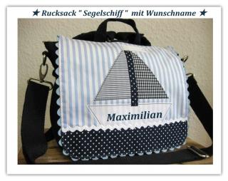 Kindergartenrucksack Segelschiff ... mit deinem Wunschname  - Handarbeit kaufen