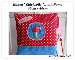 Kinderkissen  Kuschelkissen   ★ Glückspilz ★  Kissen mit Kuschelknoten   40x40   - Handarbeit kaufen